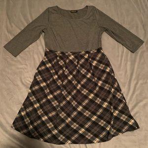 Reborn Grey Plaid Dress EUC Size XL